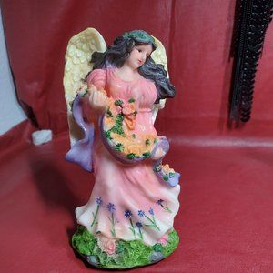 Polystone Angel Figurine Holding Garland of Flower